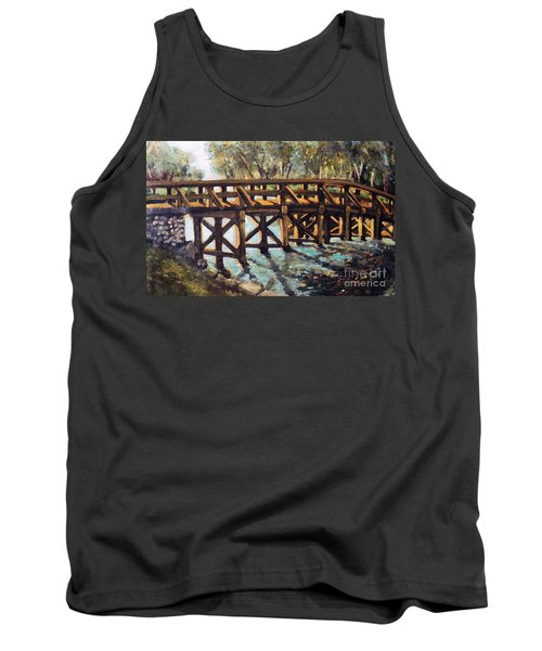 Tank Top featuring the painting Morning At The Old North Bridge by Rita Brown