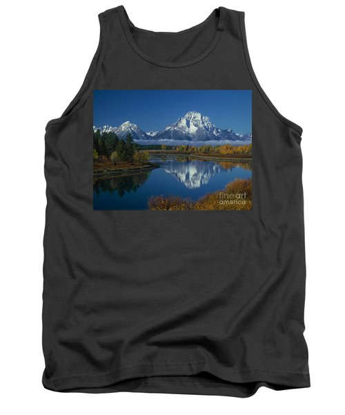 Morning Cloud Layer Oxbow Bend In Fall Grand Tetons National Park Wyoming Tank Top