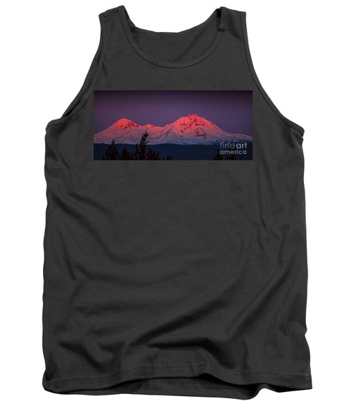Morning Dawn On Two Of Three Sisters Mountain Tops In Oregon Tank Top