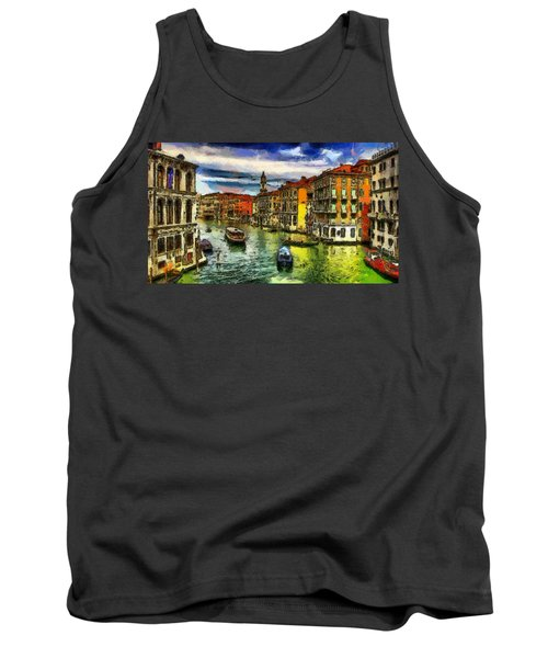 Tank Top featuring the painting Beautiful Morning In Venice, Italy by Georgi Dimitrov