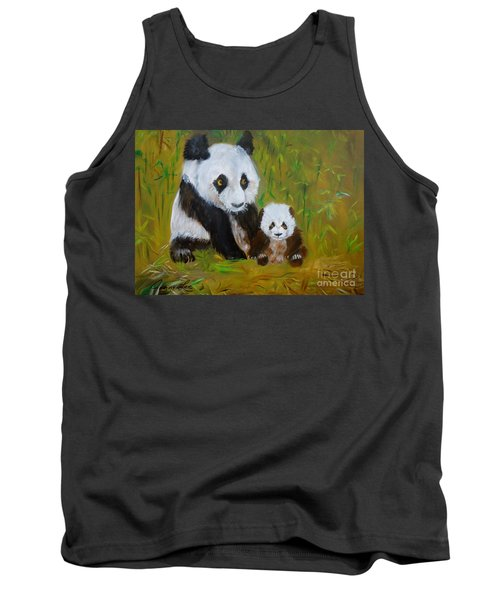 Tank Top featuring the painting Mother And Baby Panda by Jenny Lee
