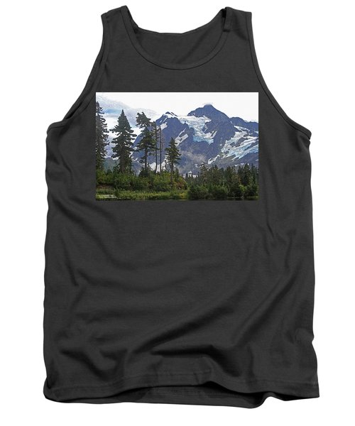 Tank Top featuring the photograph Mount Baker And Fir Trees And Glaciers And Fog by Tom Janca