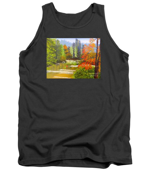Tank Top featuring the painting Mountain Stream by Pamela  Meredith