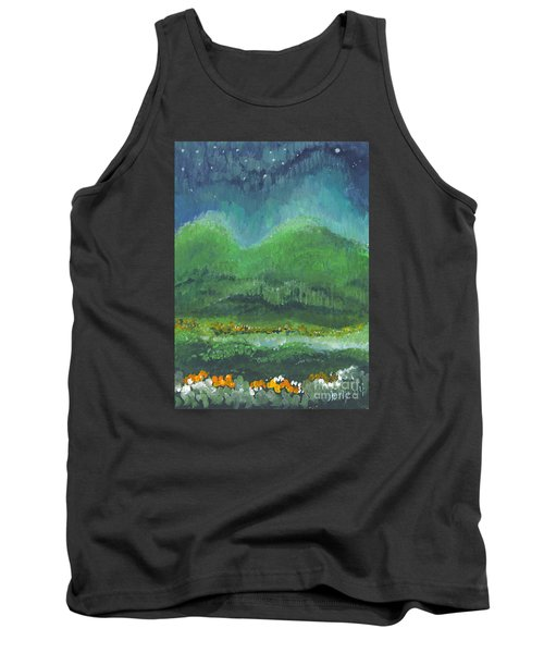Tank Top featuring the painting Mountains At Night by Holly Carmichael
