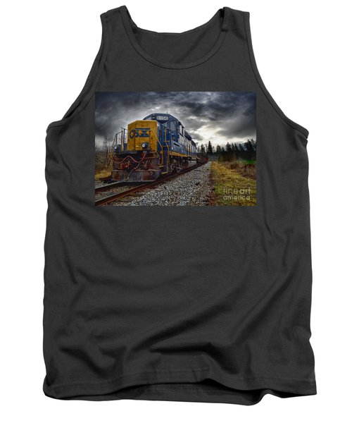 Moving Along In A Train Engine Tank Top by Melissa Messick