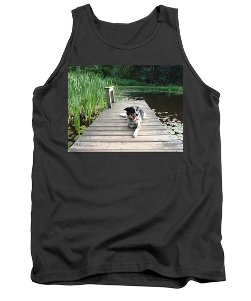 Tank Top featuring the photograph Mundee On The Dock by Michael Porchik