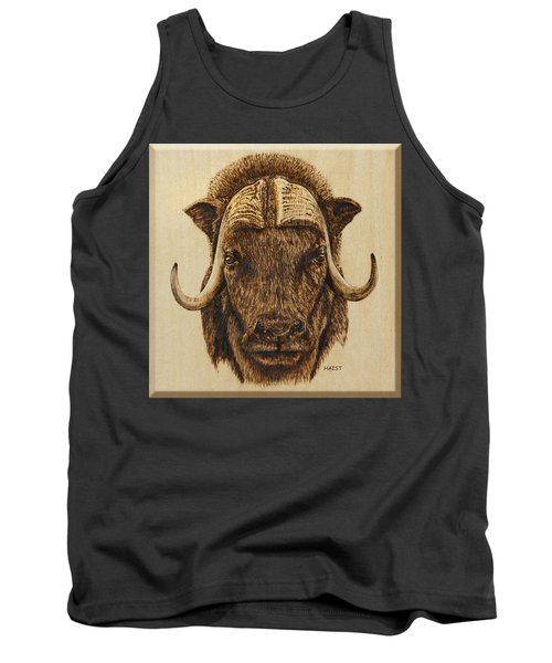Tank Top featuring the pyrography Muskox by Ron Haist