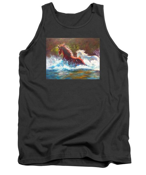 Tank Top featuring the painting Mustang Splash by Karen Kennedy Chatham