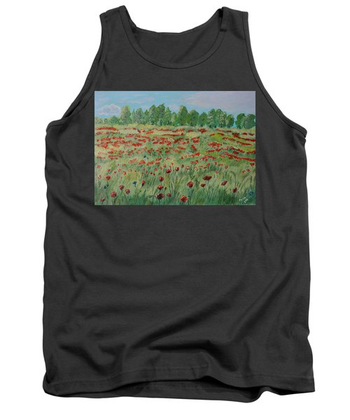 Tank Top featuring the painting My Poppies Field by Felicia Tica