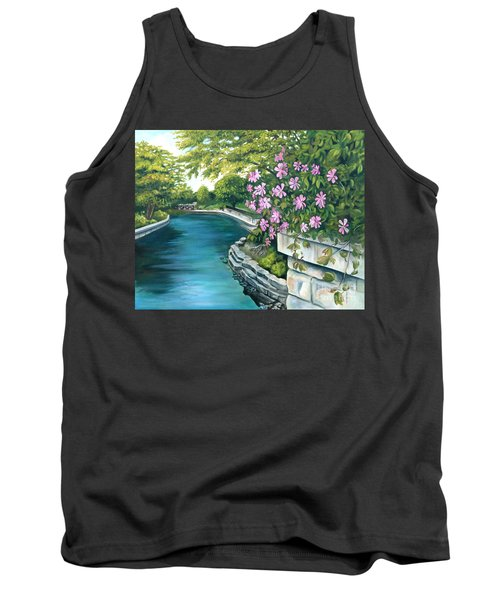 Tank Top featuring the painting Naperville Riverwalk by Debbie Hart