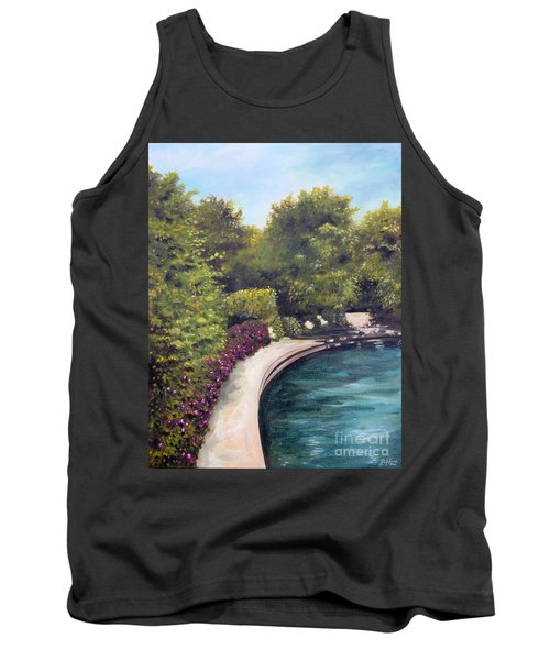 Tank Top featuring the painting Naperville Riverwalk II by Debbie Hart