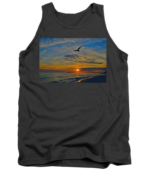 Tank Top featuring the photograph Navarre Beach And Pier Sunset Colors With Gulls And Waves by Jeff at JSJ Photography