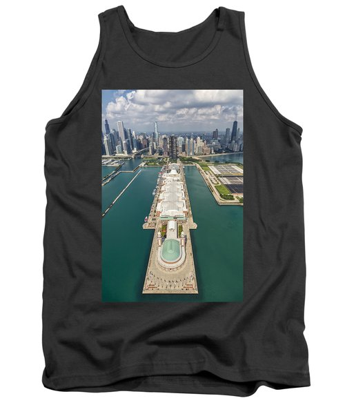 Navy Pier Chicago Aerial Tank Top by Adam Romanowicz