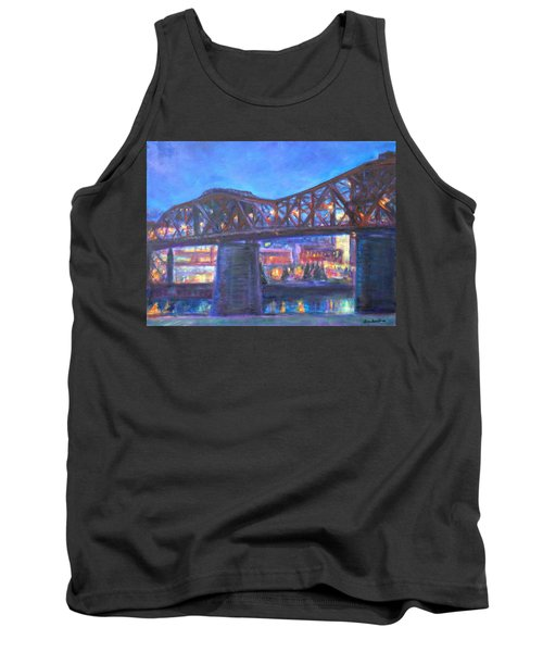 City At Night Downtown Evening Scene Original Contemporary Painting For Sale Tank Top