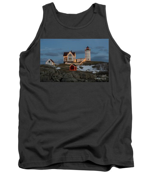 Nubble Lighthouse At Christmas Tank Top