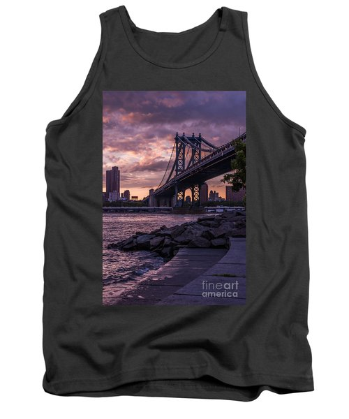 Nyc- Manhatten Bridge At Night Tank Top by Hannes Cmarits