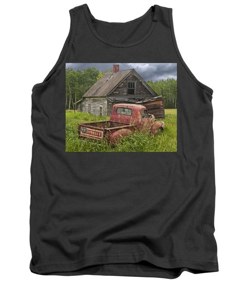Old Abandoned Homestead And Truck Tank Top