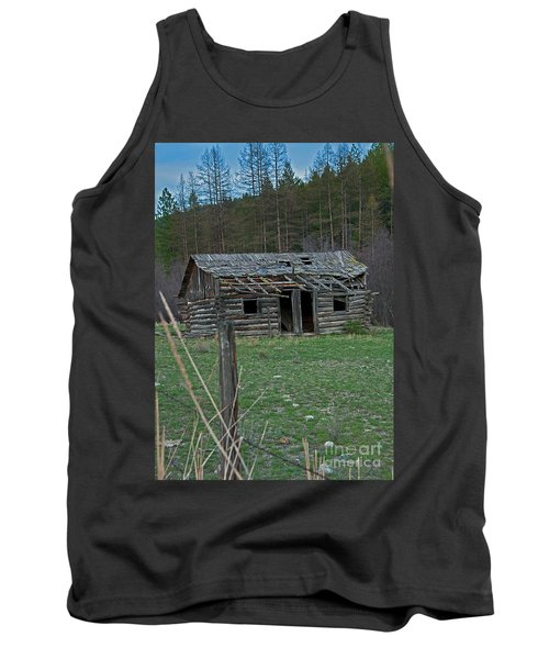 Tank Top featuring the photograph Old Abandoned Homestead Cabin Art Prints by Valerie Garner
