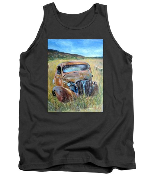 Tank Top featuring the painting Old Car by Jieming Wang