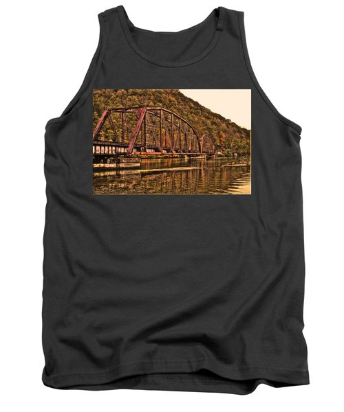 Tank Top featuring the photograph Old Railroad Bridge With Sepia Tones by Jonny D
