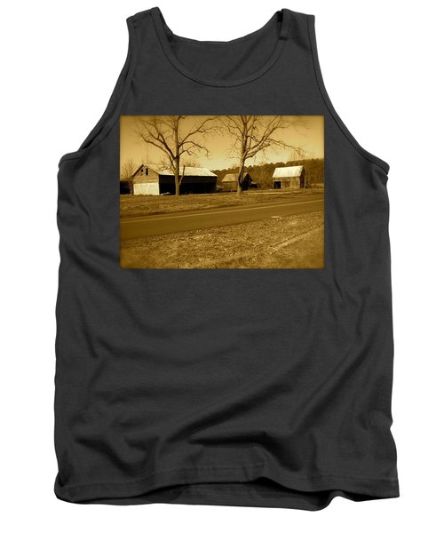 Old Red Barn In Sepia Tank Top by Amazing Photographs AKA Christian Wilson
