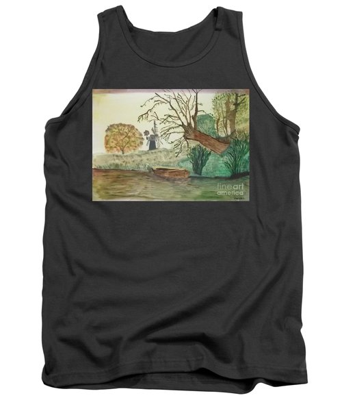 Old Willow And Boat Tank Top