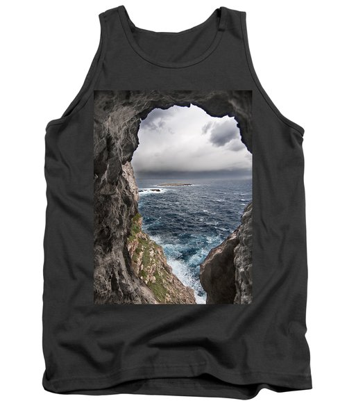 A Natural Window In Minorca North Coast Discover Us An Impressive View Of Sea And Sky - Open Window Tank Top by Pedro Cardona