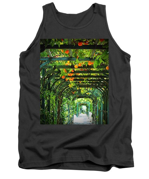 Tank Top featuring the photograph Oranges And Lemons On A Green Trellis by Brooke T Ryan