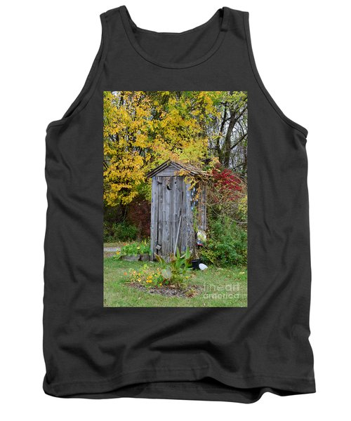 Outhouse Surrounded By Autumn Leaves Tank Top