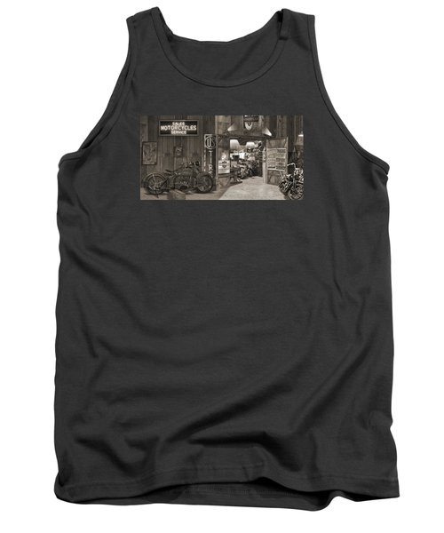 Outside The Old Motorcycle Shop - Spia Tank Top by Mike McGlothlen
