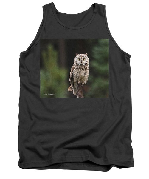 Tank Top featuring the photograph Owl In The Forest Visits by Tom Janca