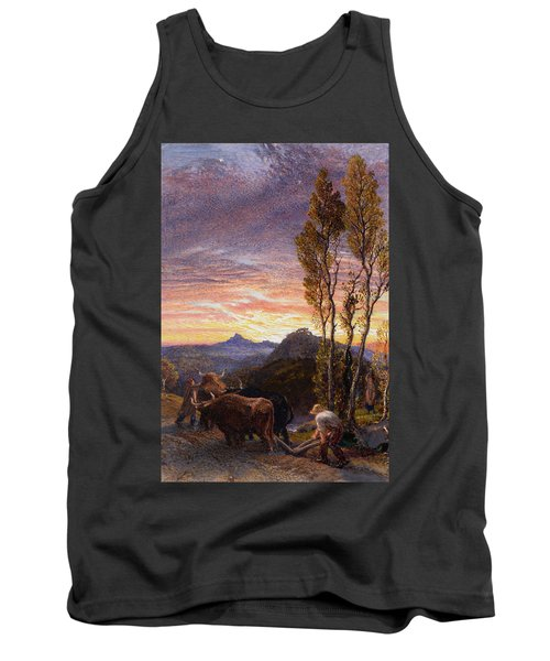 Oxen Ploughing At Sunset Tank Top