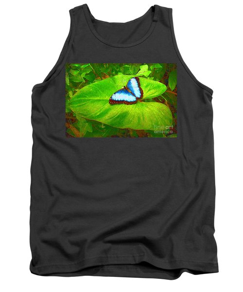 Painted Blue Morpho Tank Top by Teresa Zieba