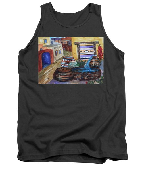 Painted Pots And Chili Peppers II  Tank Top by Ellen Levinson