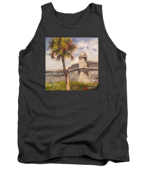 Palm At St. Augustine Castillo Fort Tank Top by Mary Hubley