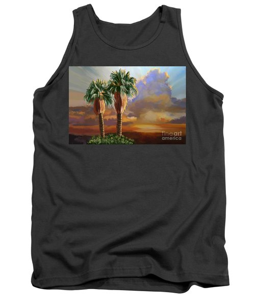 Tank Top featuring the painting Palm Tree Cabo Sunset by Tim Gilliland