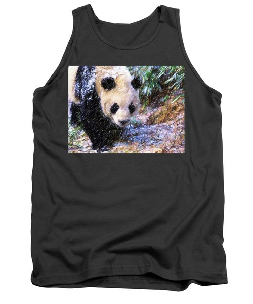 Tank Top featuring the painting Panda Bear Walking In Forest by Lanjee Chee