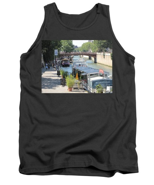 Tank Top featuring the photograph Paris - Seine Scene by HEVi FineArt