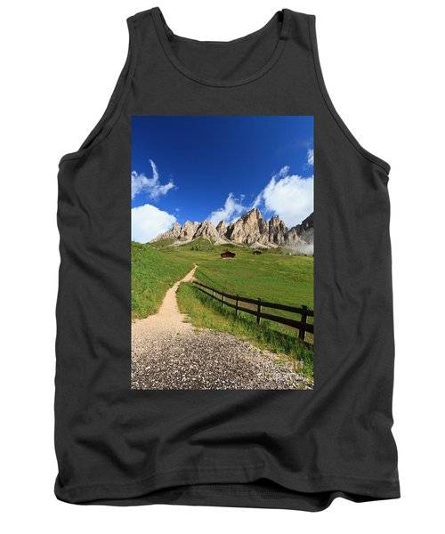Tank Top featuring the photograph path in Gardena pass by Antonio Scarpi