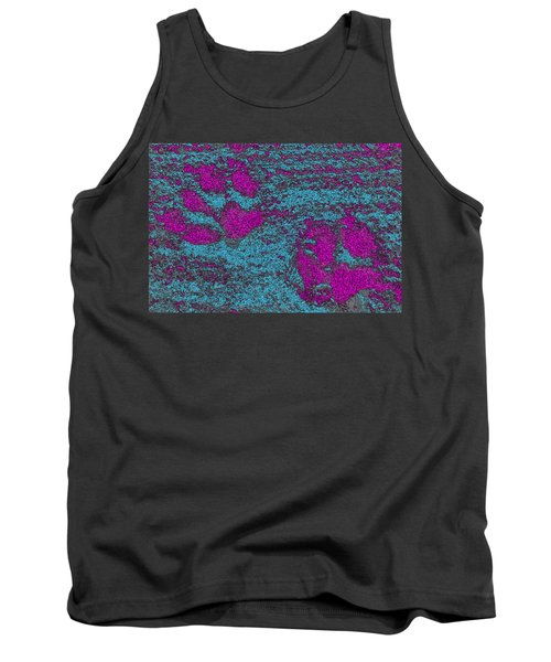 Paw Prints In Pink And Turquoise Tank Top