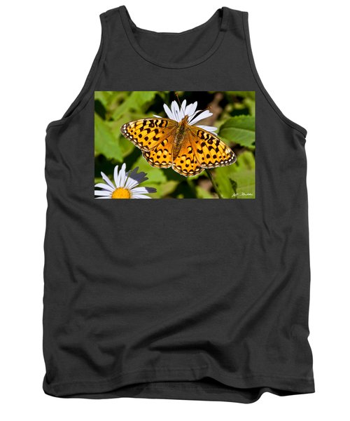 Tank Top featuring the photograph Pearl Border Fritillary Butterfly On An Aster Bloom by Jeff Goulden