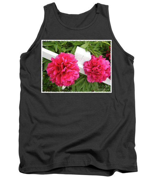Peonies Resting On White Fence Tank Top by Barbara Griffin