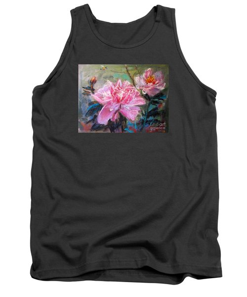 Tank Top featuring the painting Peony by Jieming Wang