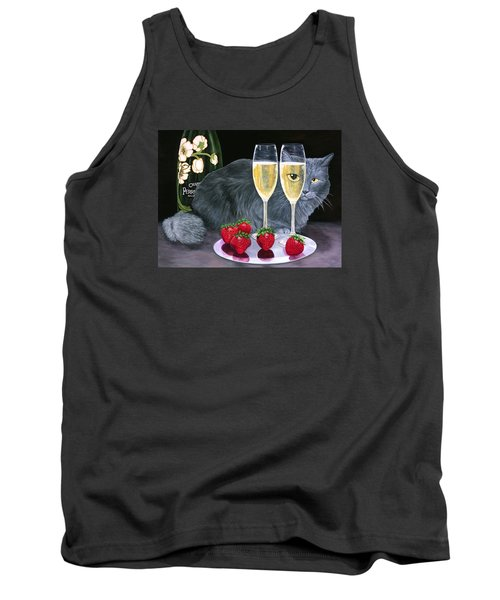 Tank Top featuring the painting Perrier Jouet Et Le Chat by Karen Zuk Rosenblatt