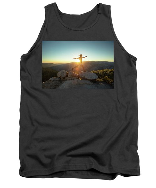 Person Leaping Along Rocks At Sunset Tank Top