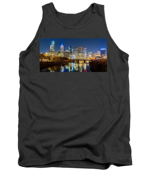 Philadelphia Cityscape Panorama By Night Tank Top
