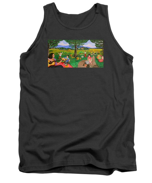 Picnic With The Farmers And Playing Melodies Under The Shade Of Trees Tank Top by Lorna Maza
