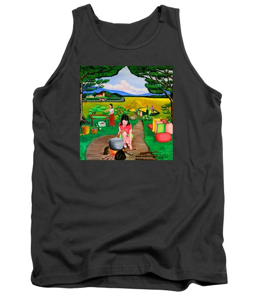 Tank Top featuring the painting Picnic With The Farmers by Cyril Maza