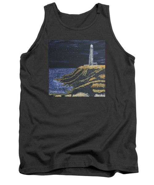 Pigeon Lighthouse Night Scumbling Complementary Colors Tank Top by Ian Donley