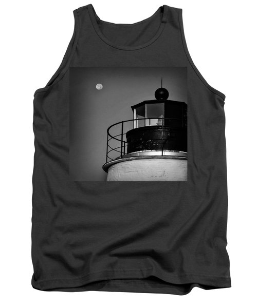 Piney Point Lighthouse And Moon In Black And White Tank Top